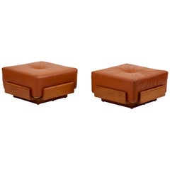 Pair of Solid Oak and Tan Leather Poufs