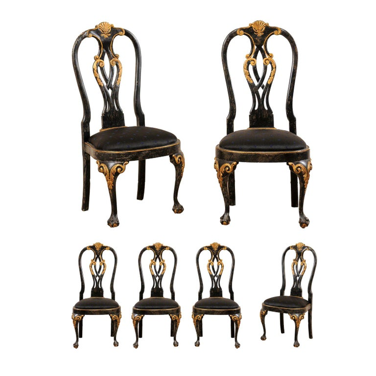 Set of 6 Portuguese Style Dining Side Chairs For Sale