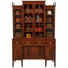 George III Sheraton Period Flamed Mahogany Breakfront Cabinet Bookcase