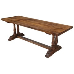 Antique French Trestle Table in White Oak, circa 1880-1900