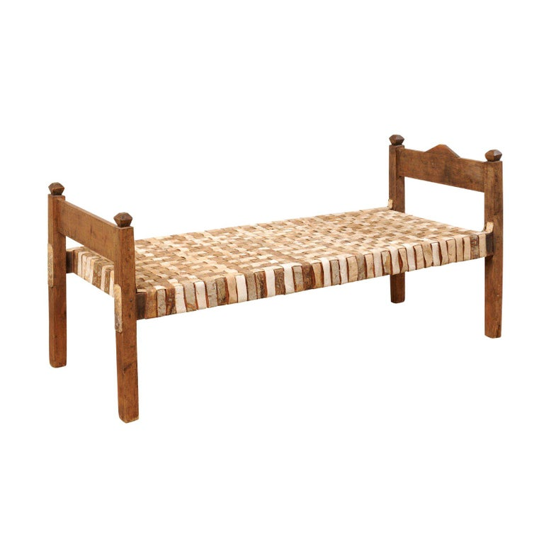 Awe Inspiring Brazilian Woven Leather And Wood Frame Daybed Bench Creativecarmelina Interior Chair Design Creativecarmelinacom
