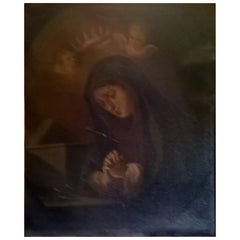 """Oil on Canvas """"Madonna"""" 18 Century to Be Restored, Originally from Croazia"""