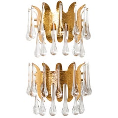 Ernst Palme for Palwa Mid-Century Modern Gilt Crown Sconces 2-Tier of Crystals