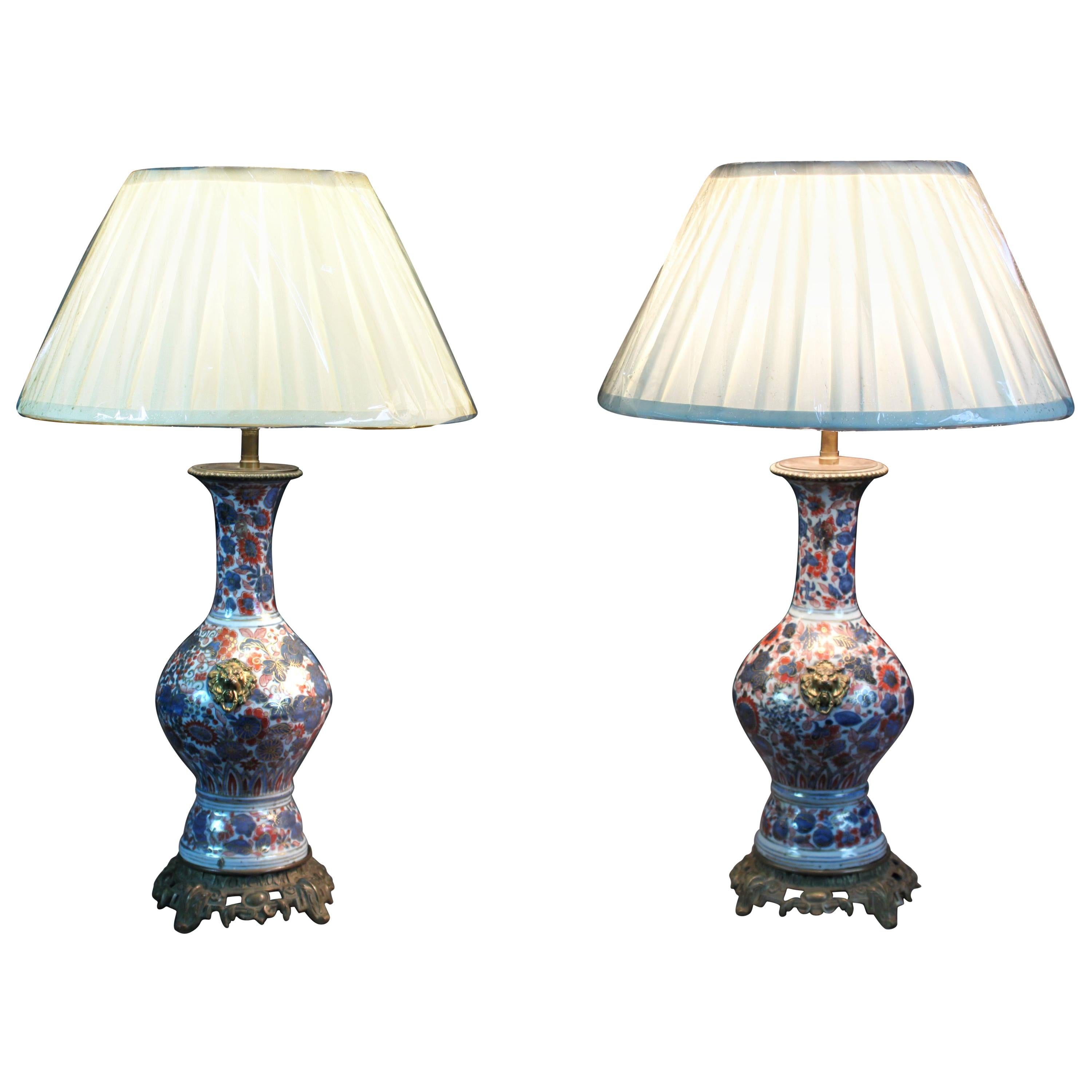 Pair of Chinese Imari Vases Converted into Lamps