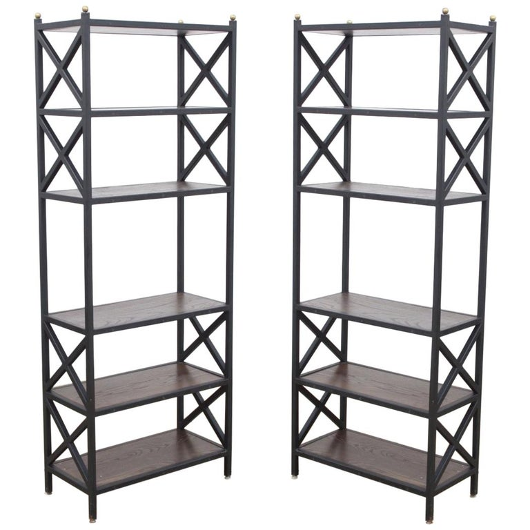Pair of Mid-Century Modern Architectural X-Form Bookcases or Étagères For Sale