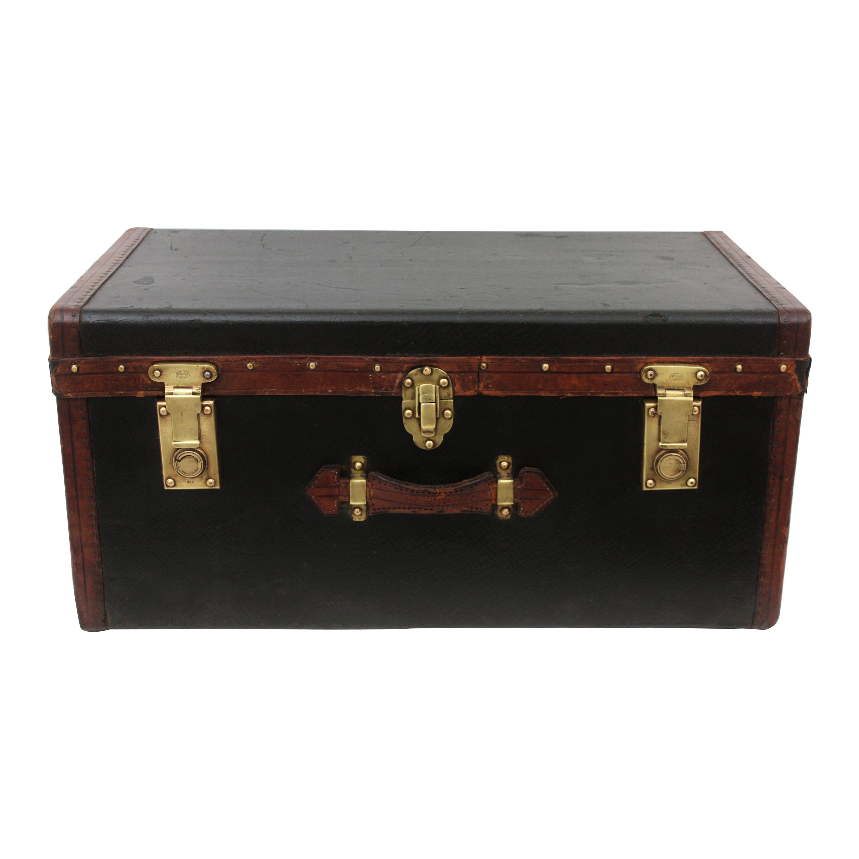 Late 19th Century English Leather and Canvas Trunk with Brass Locks