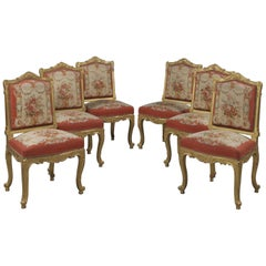 Fine Set of Six Louis XV Style Giltwood Side-Chairs, circa 1890