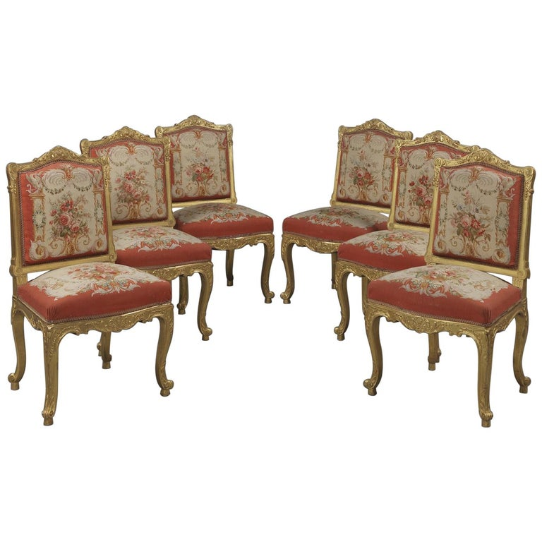 Fine Set of Six Louis XV Style Giltwood Side-Chairs, circa 1890 For Sale