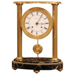 Late 19th Century French Bronze Doré Mantel Clock on Marble Base from Paris