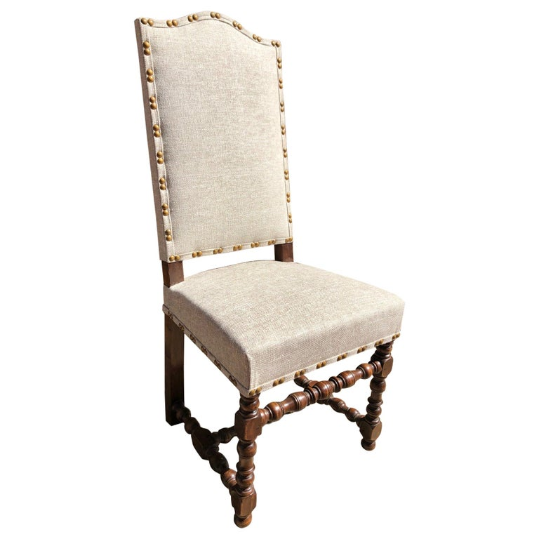 Set of Eight Off White Louis XIV Style French Provincial Dining Chairs  For Sale