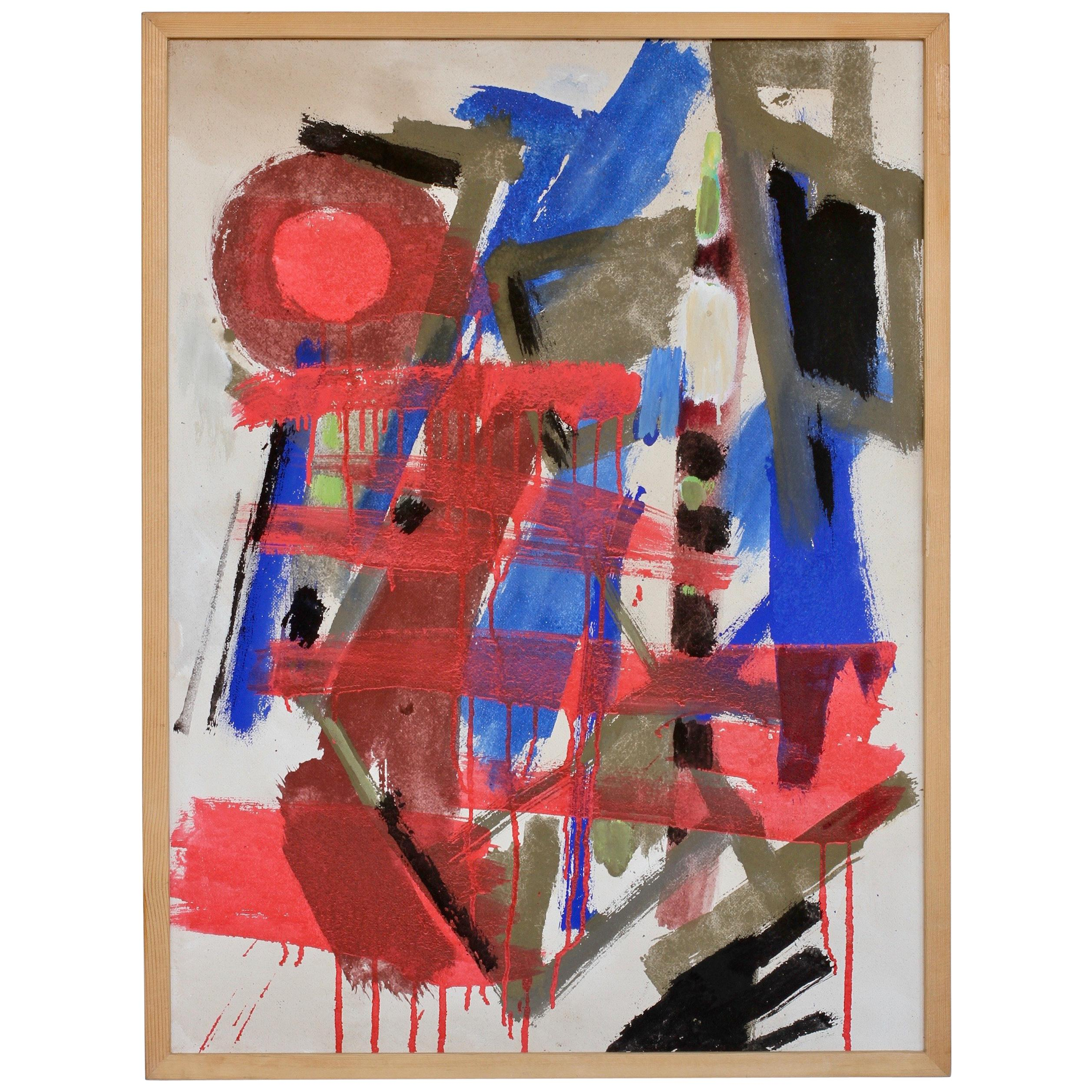 Walter Wohlschlegel Signed Abstract Modern Art Oil Painting, Germany circa  1960s