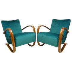 """Pair of """"H269"""" Lounge Chairs by Jindrich Halabala in Peacock Blue and Walnut"""