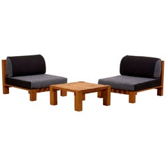 Set of Two Lounge Chairs and Coffee Table Perriand Style, France, 1960s