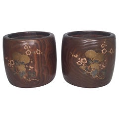 Pair of 19th Century Japanese Wood and Lacquer Jardinière Planters