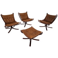 Three Vintage Falcon Chairs and Ottoman by Sigurd Resell for Vatne Møbler, 1970s