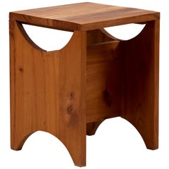 Solid Studio Wood Side Table or Stool, France, 1950s