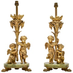 Pair of Antique Gilt Metal and Onyx Table Lamps