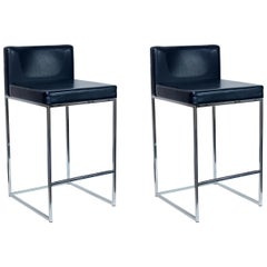 Pair of Milo Baughman Bar Stools for Estee Lauder