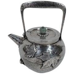Antique Tiffany Japonesque Applied Hand-Hammered Sterling Silver Sake Pot