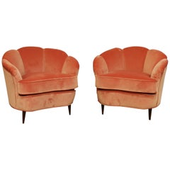 Pair of 1940s Gio Ponti Style Italian Scallop Lounge Chairs