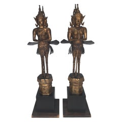 Pair of Antique Thai Winged Goddess Statues