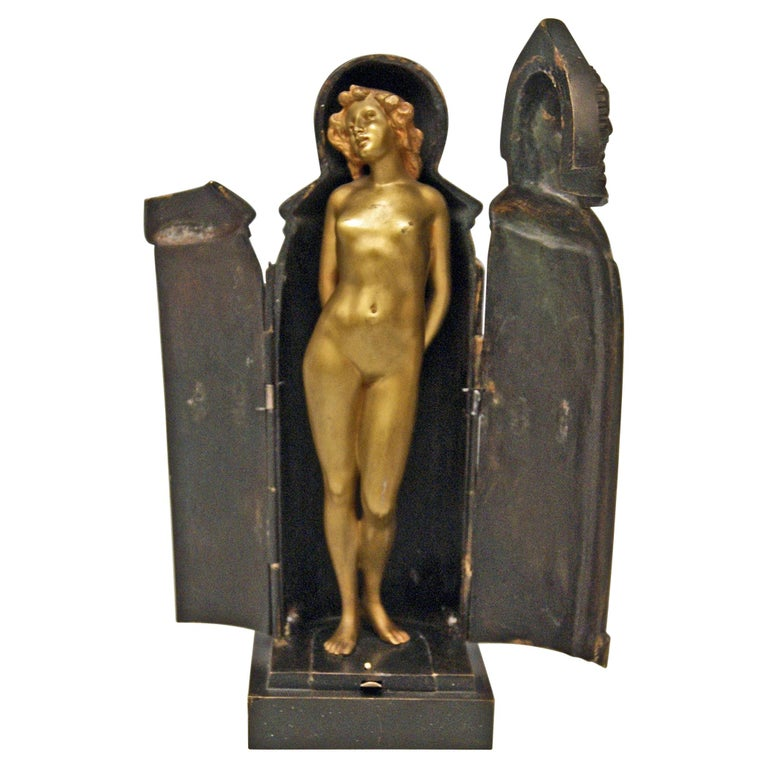 Vienna Bronze Lady Nude in Sarcophagus by Carl Kauba Vintage Made, circa 1900 For Sale
