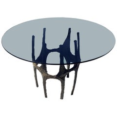 Paul Evans Sculpted Bronze Breakfast Small Dining Center Glass top Table