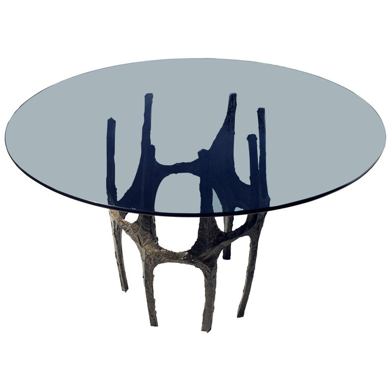 Paul Evans Sculpted Bronze Breakfast Small Dining Center Glass top Table For Sale