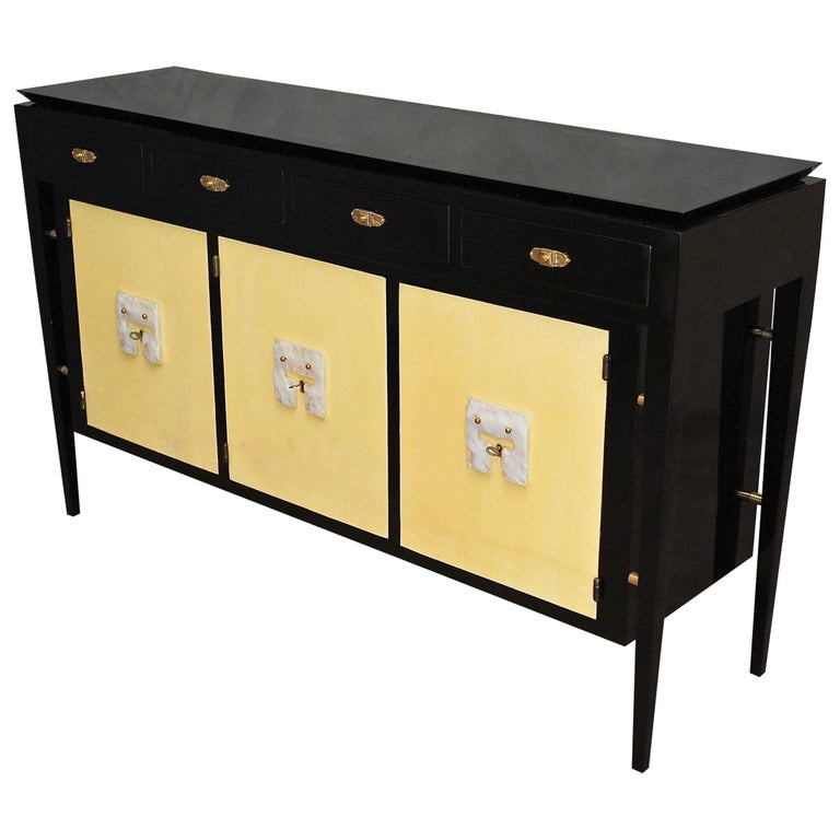 Art Deco Goatskin and Black Lacquered Wood Italian Sideboard, 1940 For Sale