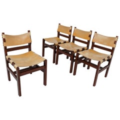 Set of Four Midcentury Chairs in Beech and Leather, France, 1960s