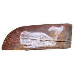 Folk Art Whale Decorated Wheel Barrow Panel