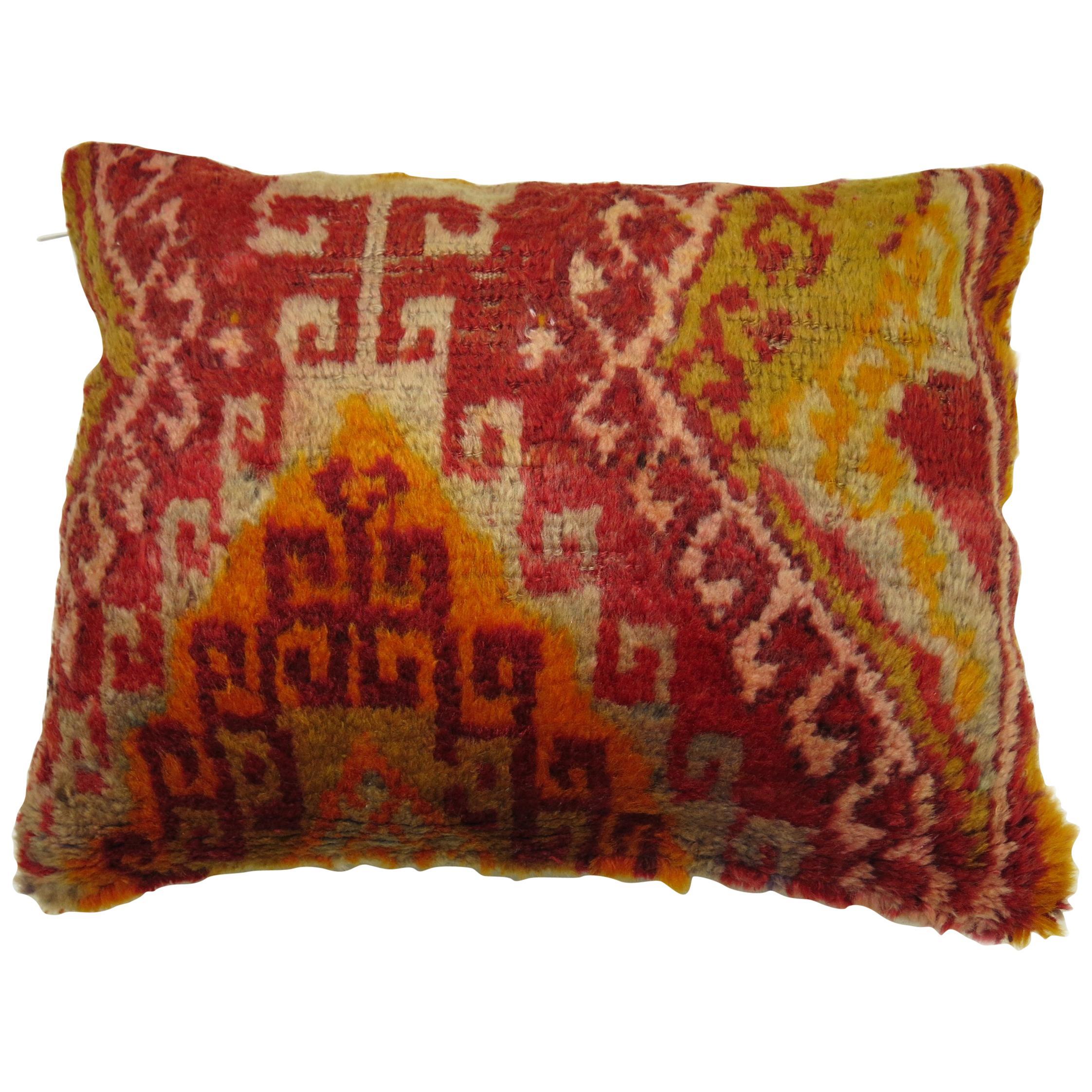 Boho Chic Vintage Turkish Lumbar Rug Pillow