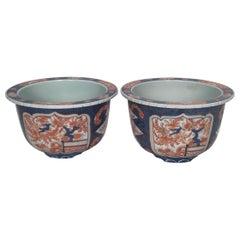 Pair of Edo Period Imari Jardiniere Planters