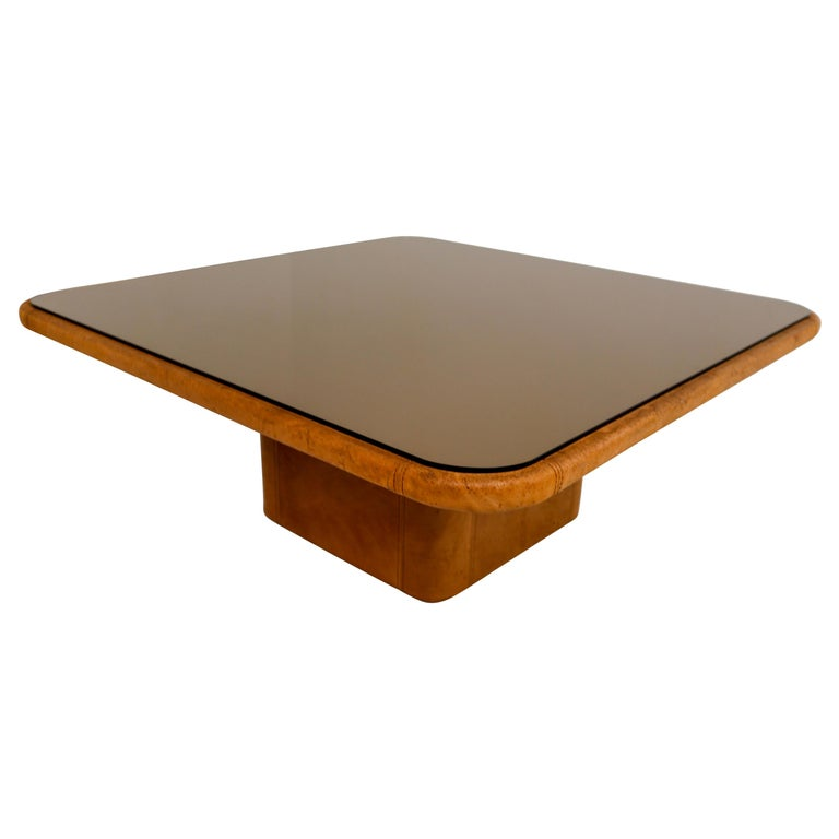 "Patinated Cognac Leather ""DS-47"" Coffee Table by De Sede, Switzerland, 1970s For Sale"