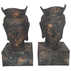 Pair of Midcentury Gilt Iron Asian Busts