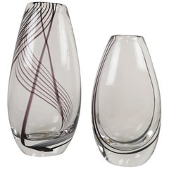 Pair of Art Glass Vases by Vicke Lindstrand for Kosta Sweden