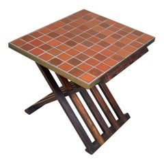 Rare Wood X-Form Folding Tile Top Table by Edward Wormley for Dunbar