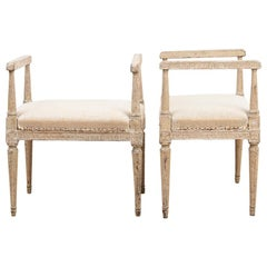 Two Richly Decorated Gustavian Banquettes Manufactured, 1780