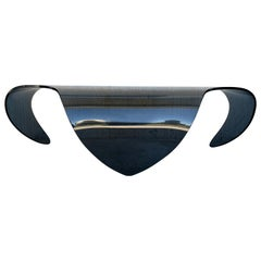 Mid-Century Modern Sculptural Curved Blue Glass Table