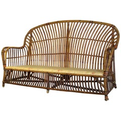 Antique American Stick Wicker Rattan Sofa