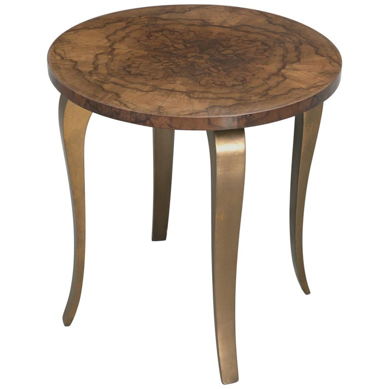 French 1930-1940 Burl Walnut and Bronze End or Side Table, Restored For Sale