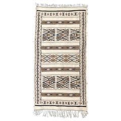 Hand-Loomed Berber Tribal Wool Throw Rug, Cream, Tan, Black, in Stock