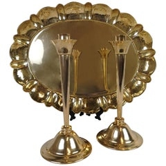 Set of Pair of Candlestick and Tray in Brass by Lars Holmström Arvika, Sweden
