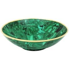 Mid-Century Modern Malachite Round Bowl or Vide-Poche with Polished Brass Rim