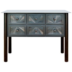 Steel Six-Drawer Starburst Counter, Functional Art, Monochromatic Quilt Design