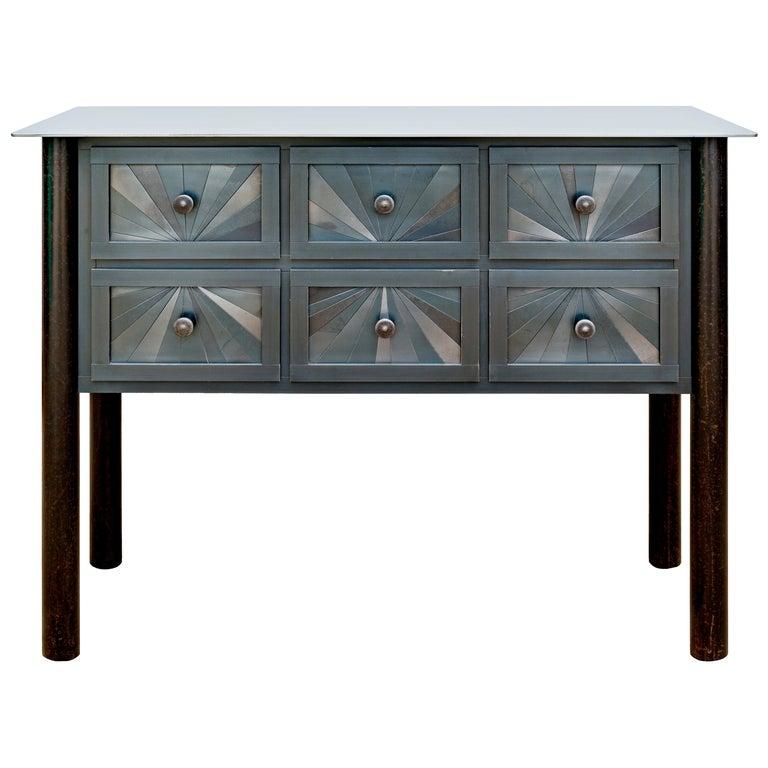Steel Six-Drawer Starburst Counter, Functional Art, Monochromatic Quilt Design For Sale