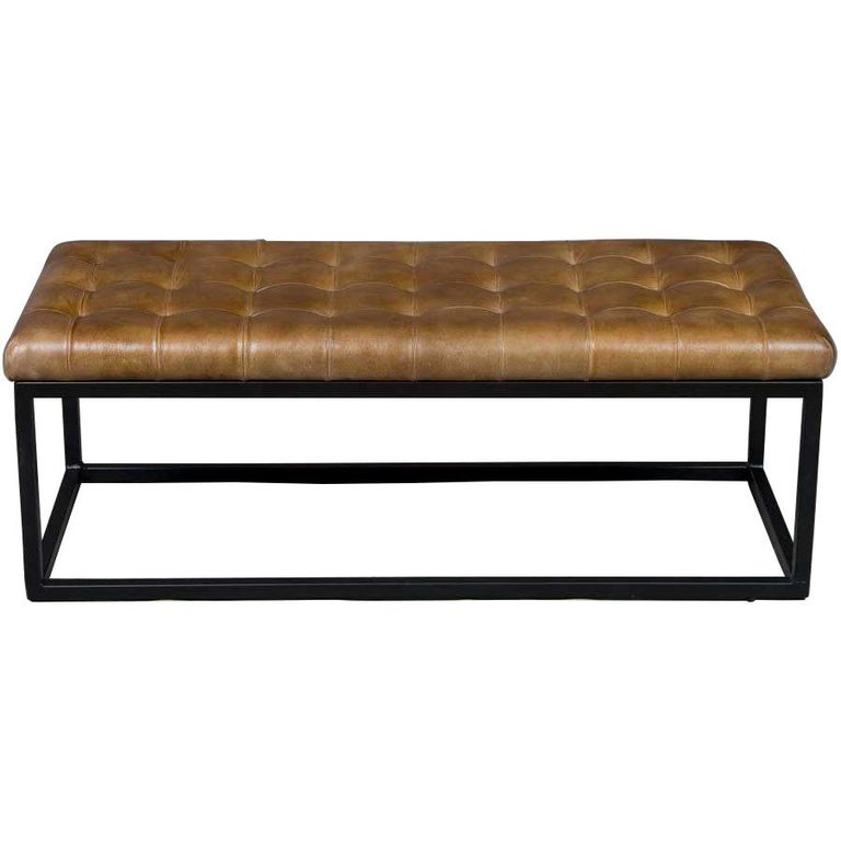 Tufted Leather Bench Seat Ottoman On Metal Base For Sale