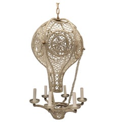 Beautiful Beaded Italian Gilt Bronze Clear Crystals Hot Air Balloon Chandelier