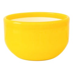 Vintage Mid-Century Modern Yellow and White Decorative Glass Bowl