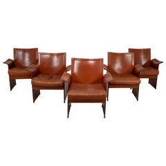 Tito Agnoli Pair of 'Korium' Chairs in Patinated Cognac Leather, Italy, 1970s